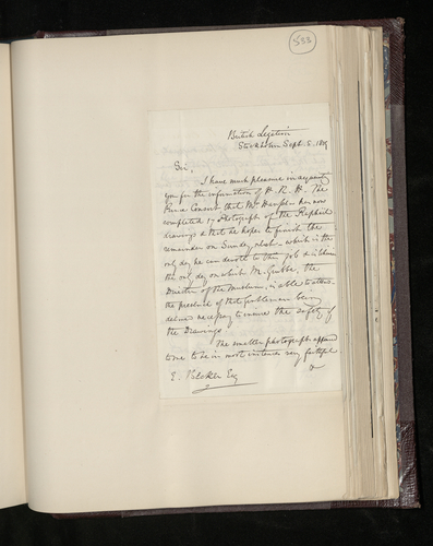 Letter from Hon. Edward Erskine, the British Charge d'Affaires in Sweden, to Dr. Ernst Becker reporting progress on the photography of the Raphael drawings and other works in Stockholm