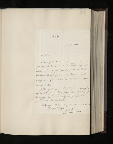 Letter from Frederic Reiset to Charles Ruland replying to his letter casting doubt on the authenticity of the drawing by Raphael which is the subject of the etching sent to him by Ruland