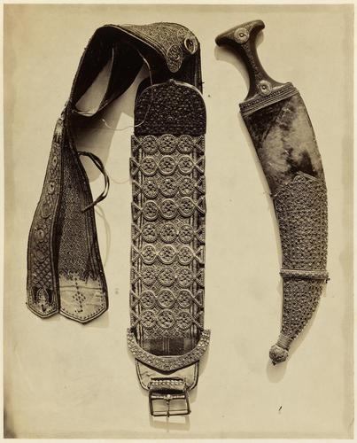 Janbiya, or dagger, with belt and scabbard