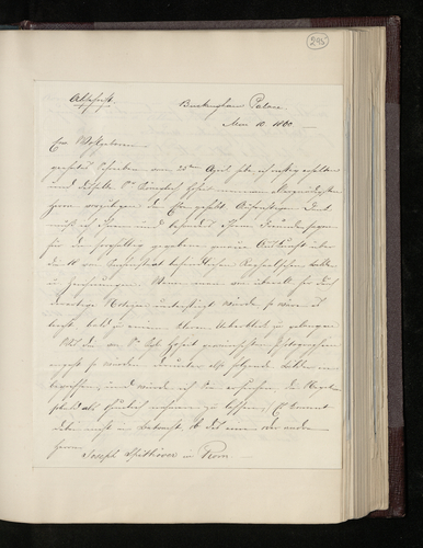 Copy letter from Charles Ruland to Joseph Spithover in Rome thanking him for his letter of 25 April and listing the pictures the Prince Consort wishes to have photographed in Rome
