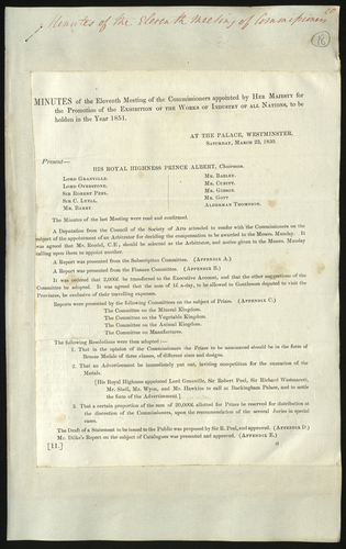 23 Mar 1850. Minutes of the eleventh meeting of the Royal Commission