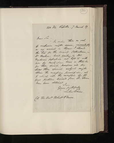 Letter from William Lake Price to Colonel Bruce regarding permission to be obtained for photography of pictures