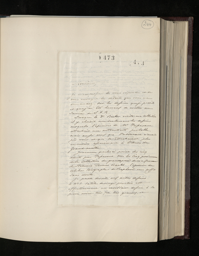 Letter from Baron de Triqueti to Charles Ruland giving details of drawings from his collection chosen by Dr. Ernst Becker to be photographed for the Prince Consort
