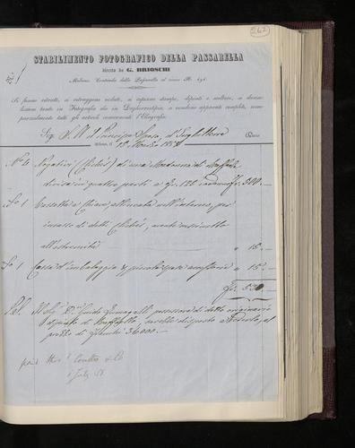 Brioschi's bill for the four negatives