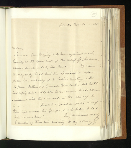 Letter from Lady Canning to regarding, amongst other things, photographs
