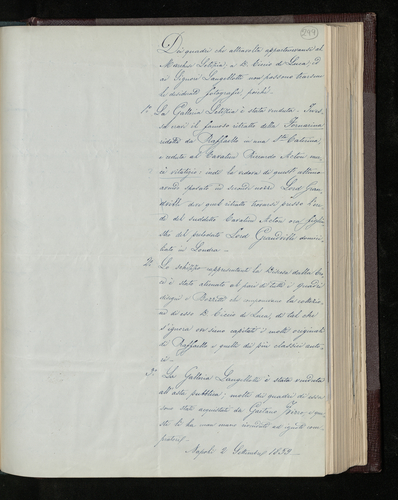 Unsigned note written in Naples, explaining why pictures formerly belonging to Marchese Letizia, Don Ciccio di Luca and the Signori Langellotti cannot be photographed [for the Prince Consort]
