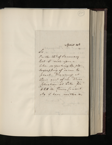 Copy letter from Charles Ruland to Robert Bingham regarding photographing drawings in the Louvre and the Wicar collection