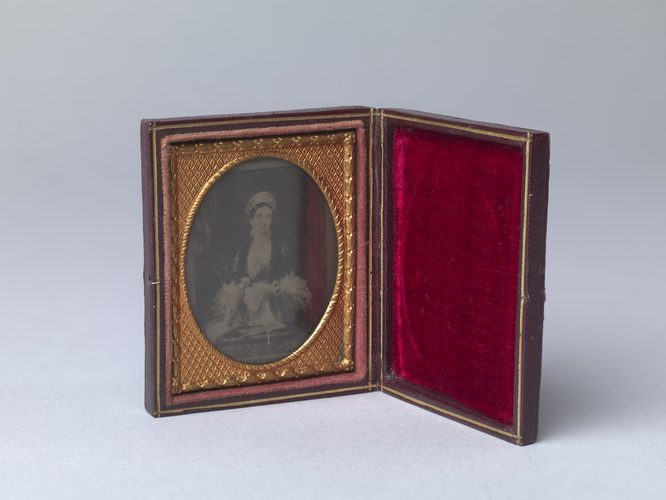 Leather case containing portrait of Queen Victoria (1819-1901)