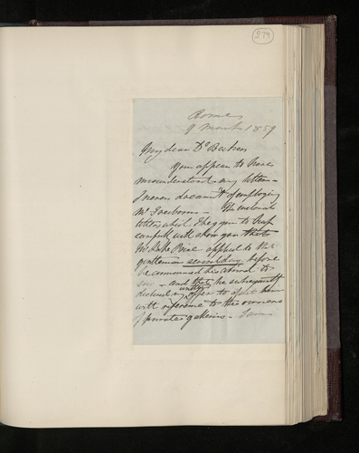 Letter from Colonel Robert Bruce to Dr. Ernst Becker about Lake Price's activities in seeking permission to photograph works of art in Rome for the Prince Consort