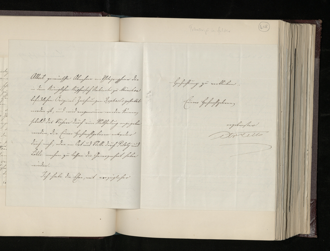 Letter from August von Cetto, the Bavarian Envoy, to Dr. Ernst Becker informing him that permission has been granted