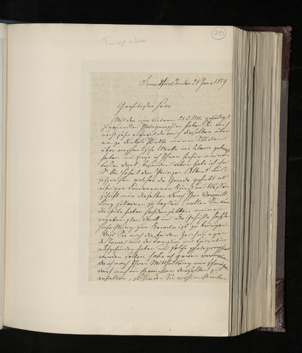 Letter from J. D. Passavant to Dr. Ernst Becker thanking for photographs of Raphael works and promising to send photographs of the two Raphael drawings in his Institute
