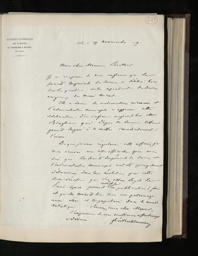 Letter from the President of the Society of Sciences and Arts in Lille saying that his society and the Lille town council have agreed to the photographing of the drawings in the Musee Wicar