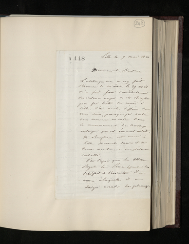 Letter from Dr. Kuhlmann, President of the Society of Sciences and Arts in Lille, to Charles Ruland informing him that Robert Bingham has begun his work at the museum