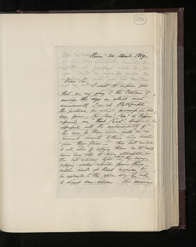 Letter from Lake Price to Dr. Ernst Becker informing him that he has been unable to photograph either the pictures in the Vatican, despite permission having been given, or the Raphael in the Academy o