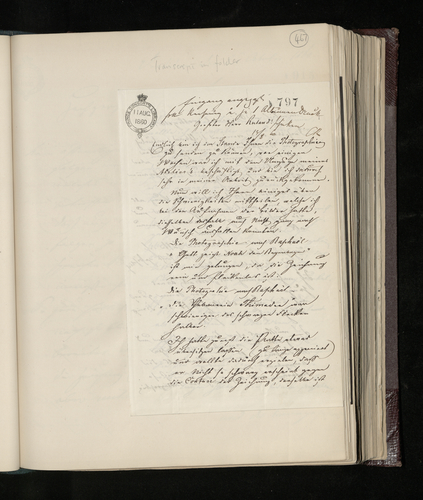 Letter to Charles Ruland from the photographer commissioned to photograph works by Raphael in the Stadel Institute in Frankfurt sending his photographs and explaining the difficulties he had in taking