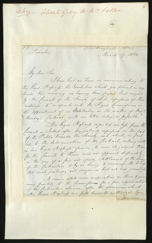 19 Mar 1850. Colonel Grey to Francis Fuller