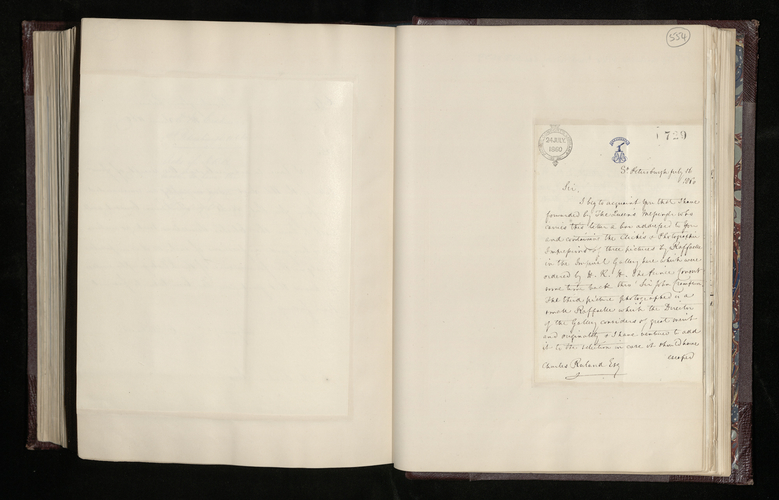Letter from Hon. Edward Erskine, the British Charge d'Affaires in St. Petersburg, to Charles Ruland announcing that has sent negatives and prints of four pictures by Raphael for the Prince Consort an