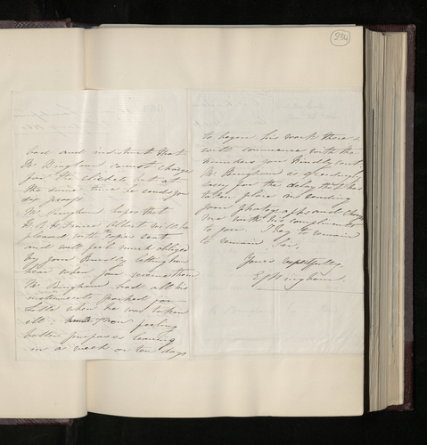 Letter from Mrs Bingham, wife of the photographer, explaining that her husband is ill but that he has just sent the proofs of his photographs of Raphael drawings to the Prince Consort