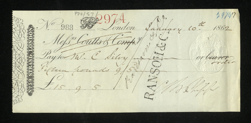 Bill, with receipt, issued by Camille Silvy for numerous cartes de visites, with envelope. Includes letter from Carl Ruland