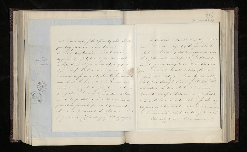 Translation of Gerolamo Brioschi's letter to Dr. Ernst Becker justifying his charge for his photographs of Signor Fumagalli's painting by Raphael