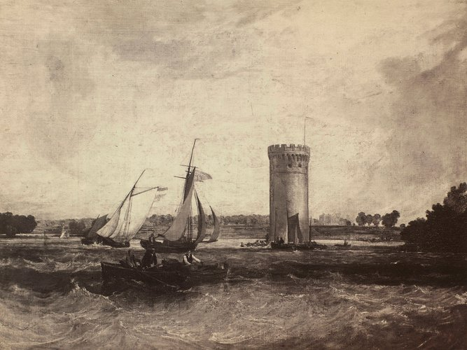'Tabley Lake and Tower'; Tabley, Cheshire, the Seat of Sir J. F. Leicester, Bt: Windy Day