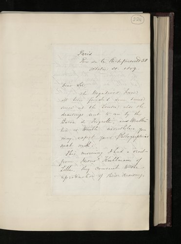 Letter from Robert Bingham to Dr. Ernst Becker informing him that he has finished photographing drawings at the Louvre and others sent by Baron de Triqueti and will send the prints shortly, and that h