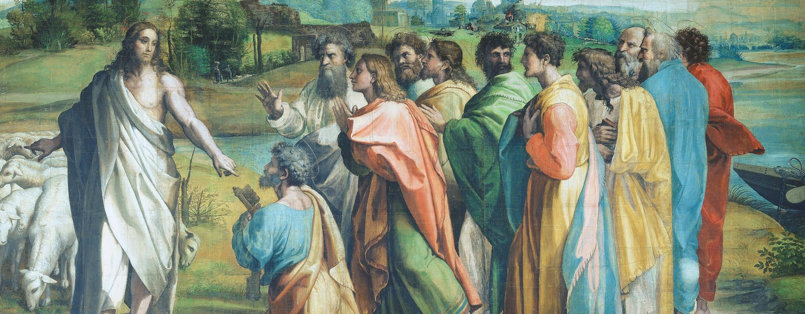 A cartoon for the tapestry of Christ's Charge to Peter for the Sistine Chapel. Christ is standing on the left, pointing behind himself to a flock of sheep and in front to the keys held by Peter, who is kneeling. The other disciples stand in a group at the