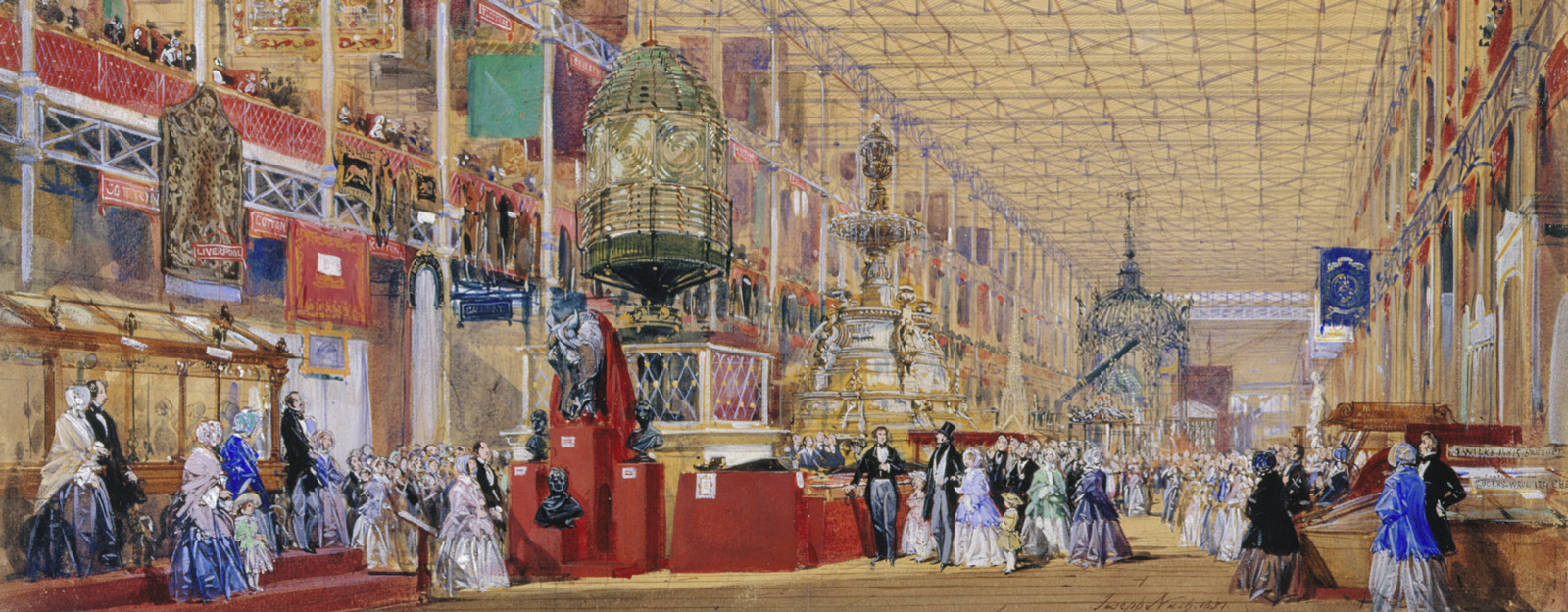 The Great Exhibition of 1851: the British Nave dated 1851 by Joseph Nash