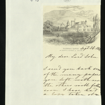 Prince Albert sends back papers to Lord John Russell and writes that he has made a copy of the letter to Mr Redington and his memorandum. He also writes that Queen Victoria has received Lord John Russell's box with the letter relating to Lord Palmerston's