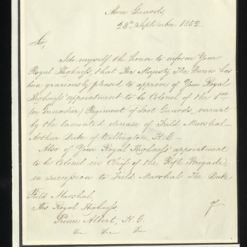 Lord Hardinge refers to Prince Albert's appointment as Colonel of the Grenadier Guards and Colonel-in-Chief of the Rifle Brigade on the death of the Duke of Wellington.