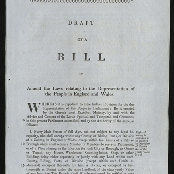 'Draft of a bill to amend the laws relating to the representation of the people in England and Wales'.