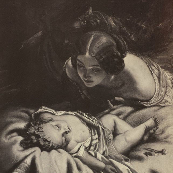Detail from a photograph of a painting showing a mother with her baby