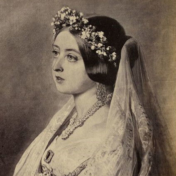 Detail of a photograph of Winterhalter's portrait of Queen Victoria as a young woman