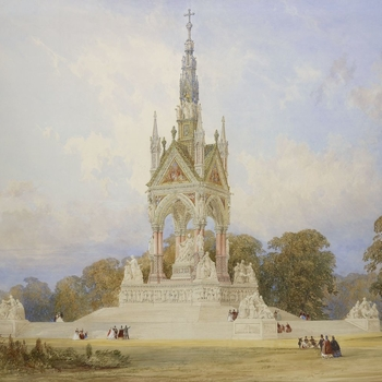 A watercolour proposal for the Albert Memorial, depicting a topographical view with figures in the middle ground and trees behind.