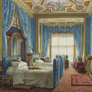 A watercolour showing the interior of a bedroom upholstered in blue at Windsor Castle looking towards the window; two beds are on the left with cross shaped wreathes of flowers on them, a fireplace on the right, and painted ceiling above.