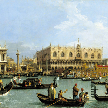 This and another picture (RCIN 404416) form a pair, much larger than the other twelve views on the Grand Canal, and were engraved as the final two plates of Visentini's <em>Prospectus Magni Canalis Venetiarum </em>(Venice, 1735), thus providing an unconte