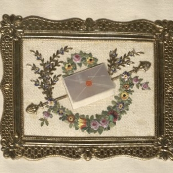 Embroidered detail from a letter