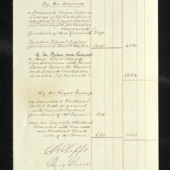 Regarding personal, domestic, establishment, public and extraordinary accounts. Also includes account of Queen Victoria's excursion to Coburg in 1860 and account of gifts given by the Queen and Prince Albert to the Princess Royal upon her marriage. Includ