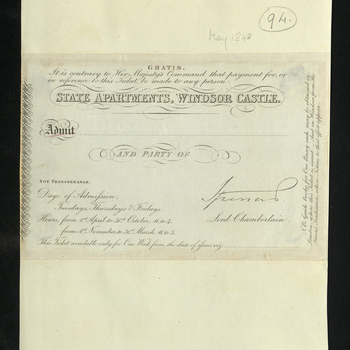Example of a ticket for admission to the Windsor Castle State Apartments.