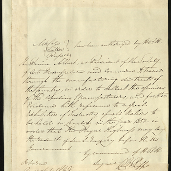 Authority given by Prince Albert to Cole, Fuller and Russell to collect opinions regarding proposal for the Exhibition of 1851. Signed on Prince Albert's behalf by Colonel Charles Beaumont Phipps.