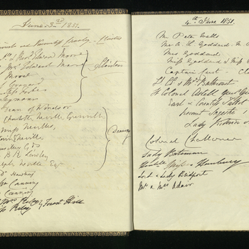 A volume recording the names of visitors for Prince Albert, at Windsor Castle, between 17 April 1851 and 31 December 1859. Names listed under date, sometimes with name of relevant institution or organisation.
