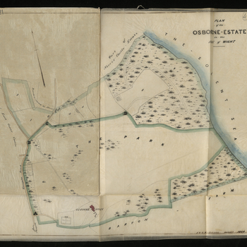 Coloured plan of the Osborne Estate in the Isle of Wight, on tracing paper.  Related Material: For related material see VIC/MAIN/F/21/40.