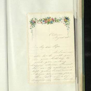 Princess Helena (Lenchen) wishes Prince Albert a happy birthday and asks him to accept her drawing.