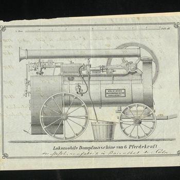 Printed drawing of steam engine, titled 'Lokomobile Dampfmaschine von 6 Pferdekraft der Maschinenfabrik in Baienshal [?] Cöln.' Includes notes of measurements in German and an annotation in pencil in English, which reads 'as little fuel as possible,