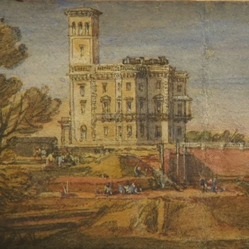 Close up of a drawing showing work being undertaken on Osborne House