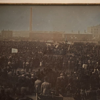 Detail of Albert's copy of the photograph of the Chartist meeting on Kennington Common
