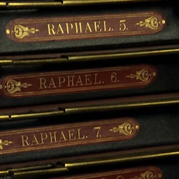 Spines of volumes containing the photographs of Raphael works