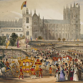 Painting of carriage procession to Westminster Abbey