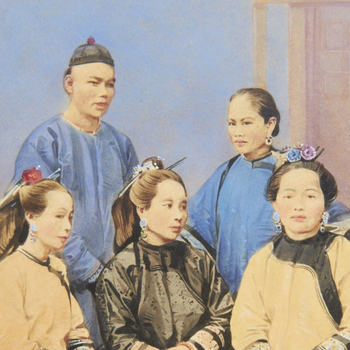 Hand-coloured photographof a full length group portrait of four Chinese women and one Chineseman. The front row, consisting of three Chinese women, are seated in a semi-circle formation. The other two people stand behind.The group wear t