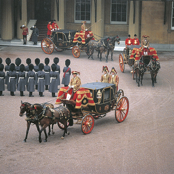 The Queen's carriage procession forming in the Quadrangle for the State Opening of Parliament